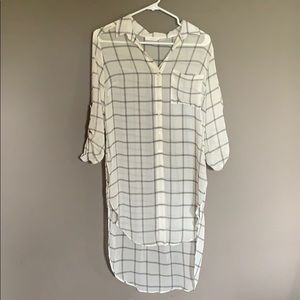 Sheer plaid high-low tunic by Lush